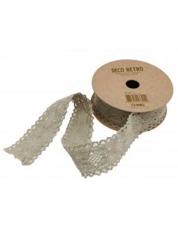 Ruban coton dentelle taupe 25mm