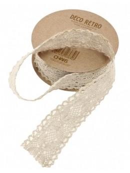 Ruban coton dentelle ivoire 25mm