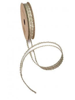 Ruban coton dentelle taupe adhésif 1cmx2m