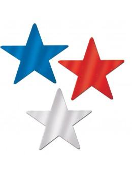 3 Décos étoiles tricolore 38 cm
