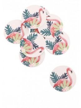 Sachet 12 confetti bois flamant rose adhésifs