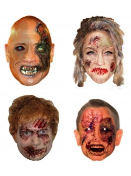 Assortiment 4 masques carton zombie