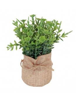 Plante verte artificielle pot jute 16cm