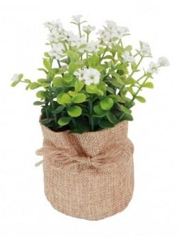 Plante artificielle fleurs blanches pot jute 16cm