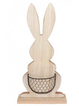 Centre de table lapin bois avec panier 48cm
