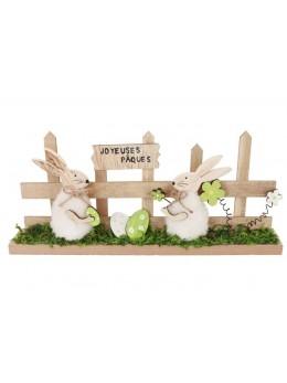 Centre de table lapin et barrière bois