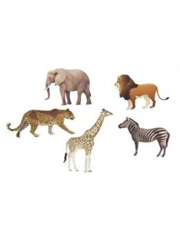 6 confetti de table animaux de la savane