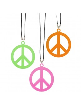 Collier peace and love fluo