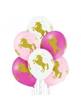6 Ballons licorne 3 couleurs