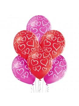 6 ballons coeur 30cm