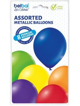 8 Ballons métallique multicolore 30cm