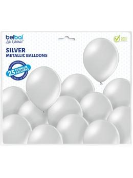 25 ballons premium argent métal