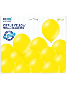 25 ballons premium jaune métal
