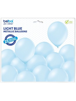 25 ballons premium bleu pale métal