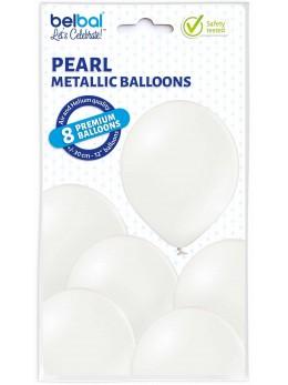 8 Ballons blanc métal 30cm