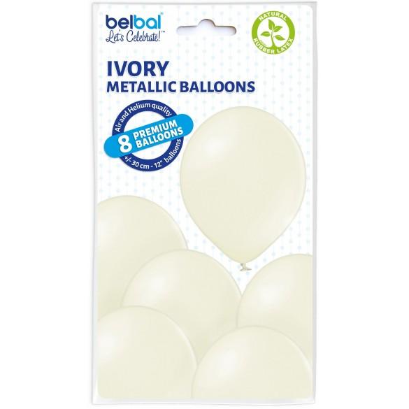 8 Ballons ivoire nacré 30cm