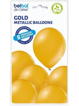 8 Ballons Or nacré 30cm
