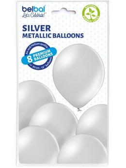 8 Ballons Argent nacré 30cm