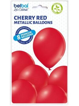 8 Ballons rouge nacré 30cm