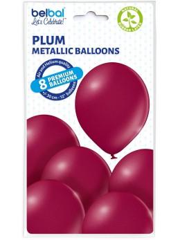 8 Ballons bordeaux nacré 30cm