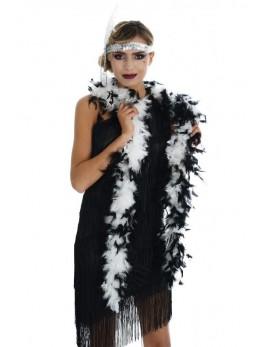 Boa en plumes blanc et noir