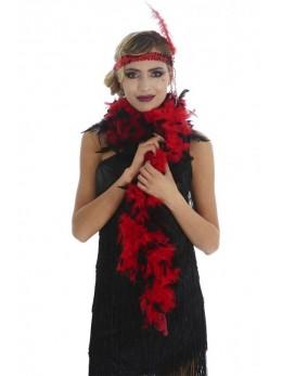 Boa en plumes rouge et noir