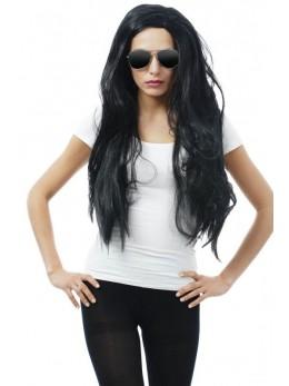 Perruque cheveux long noir