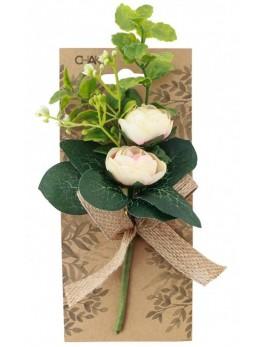 Bouquet 2 roses et feuillage