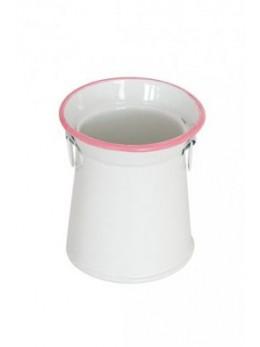 Pot à lait blanc et rose 6 cm