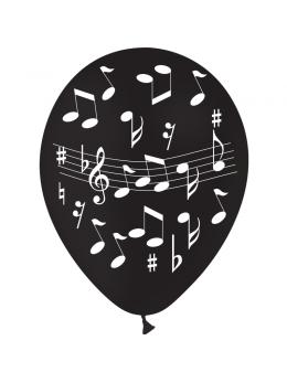 8 Ballons musique noir 30cm