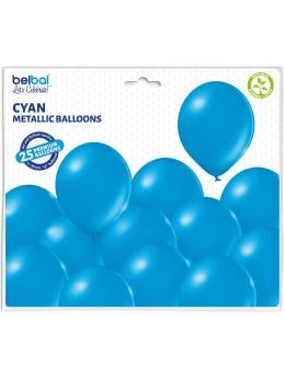 25 ballons premium bleu métal