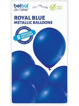 8 Ballons bleu roi nacré 30cm