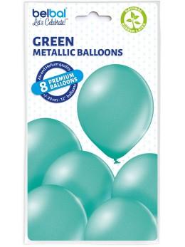 8 Ballons vert eau nacré 30cm