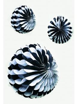 Déco boule papier noir et blanche 25cm
