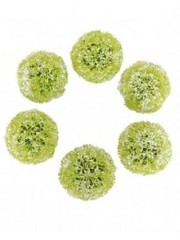 6 boules déco herbe 8cm