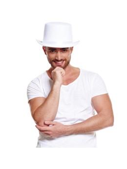 Chapeau haut de forme feutrine blanc