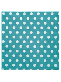 20 Serviettes papier pois turquoise