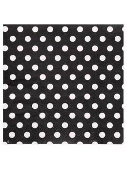 20 Serviettes papier pois noir