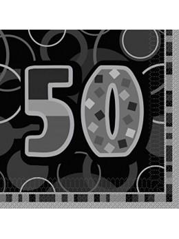 16 serviettes 50 ans noires
