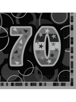 16 serviettes 70 ans noires