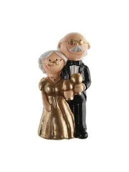 Figurine couple mariés résine Noces d'or
