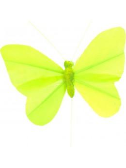 6 Papillons unis jaune sur tige