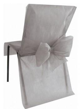 10 Housses de chaises grises avec noeuds