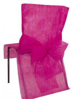10 Housses de chaise fuchsia avec noeuds