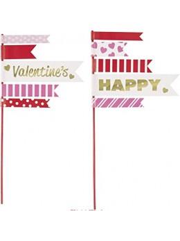 2 Fanions Saint Valentin pour gateau