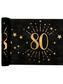 Chemin de table 80 ans noir et or