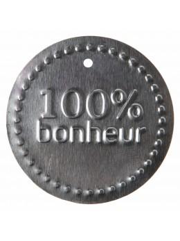 6 Etiquettes métal 100% bonheur argent
