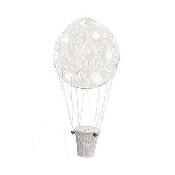 Ballon montgolfière Mariage urne blanc