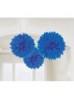 3 pompons Fleurs de soie 40cm bleu roi