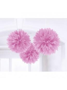 3 pompons Fleurs de soie 40cm mauve